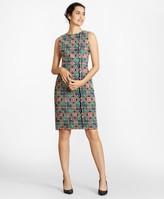 Brooks Brothers Floral-Embroidered Chiffon Sheath Dress