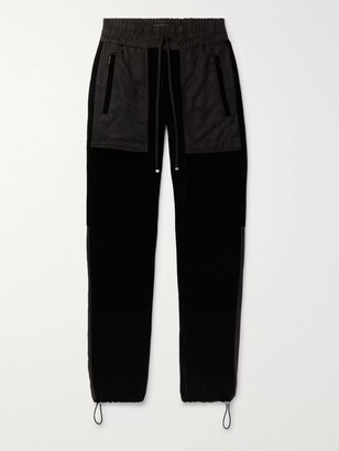 Amiri Tapered Twill-Panelled Velvet Sweatpants
