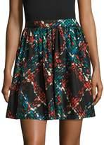 Manoush Women's Tweed Printed Pleat Flared Skirt