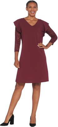 Du Jour V-Neck Lace Sleeve Knit Dress with Ruffle Detail