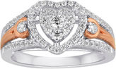 MODERN BRIDE I Said Yes 1/2 CT. T.W. Diamond Heart-Shaped 10K White & Rose Gold Bridal Ring
