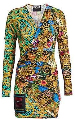 Versace Women's Multi-Print Wrap Bodycon Dress