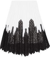 Oscar de la Renta Pleated Stretch-knit And Lace Skirt - Ivory