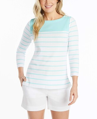 Nautica Women's Breton Striped 3/4 Sleeve Pure 100% Cotton Shirt