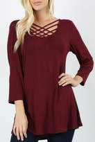 Classic Trendz Boutique Criss-Cross Burgundy Top
