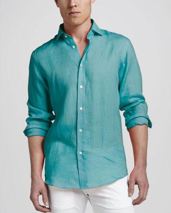Ralph Lauren Black Label Woven Linen Sport Shirt, Turquoise