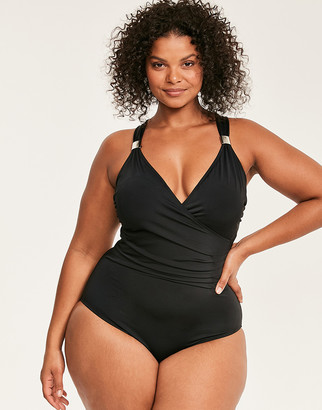 Figleaves Illusion Curve Draped Firm Control Swimsuit