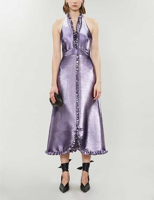 Temperley London Moon Garden halter neck metallic midi dress