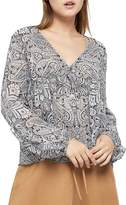 BCBGeneration Women's Long-Sleeve Paisley Ruffle Top