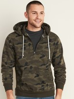 Old Navy Camo 1/4-Zip Rib-Knit Side-Panel Hoodie for Men
