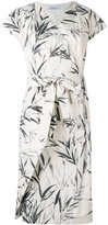 Blumarine leaf print wrap dress - women - Cotton/Spandex/Elastane - 46
