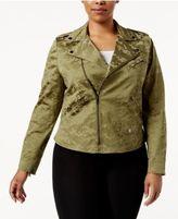 Anne Klein Plus Size Camouflage Jacquard Moto Jacket