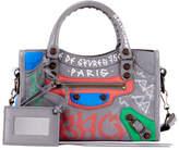 Balenciaga Classic City Mini City Graffiti-Print Tote Bag