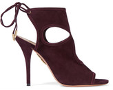 Aquazzura Sexy Thing Cutout Suede Sandals - Burgundy