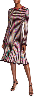 Etro Pleated Knit Long-Sleeve A-Line Dress