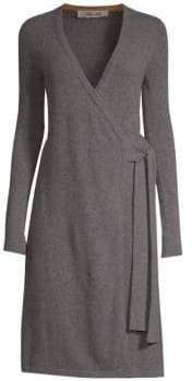 Diane von Furstenberg Women's Knitted Wrap Cashmere Dress - Honey - Size Medium