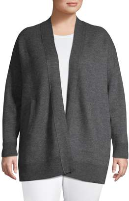 Lord & Taylor Plus Long-Sleeve Open Front Cardigan