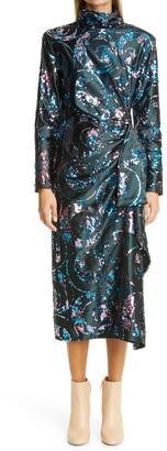 Dries Van Noten Dropaz Sequin Embellished Long Sleeve Dress