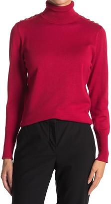 Joseph A Button Shoulder Turtleneck Sweater