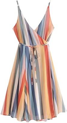 Goodnight Macaroon 'Suki' Strap Color Stripes Wrap Mini Dress