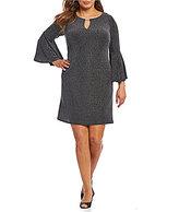 Jessica Howard Plus Bell-Sleeve Keyhole Metallic Knit Shift Dress