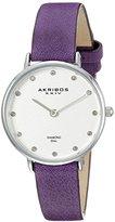 Akribos XXIV Women's AK882 Round Silver Dial Two Hand Quartz Strap Watch