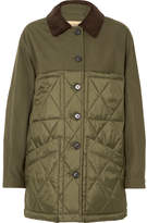 Burberry Corduroy-trimmed Canvas And Quilted Shell Jacket - Army green