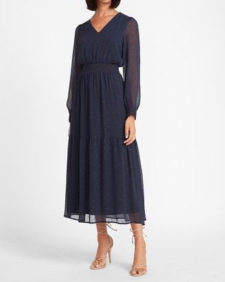 Express Metallic Tiered V-Neck Midi Dress