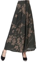 Feoya Women's Loose High Waist Floral Printed Tencel Culottes Wide Pants Size 3XL
