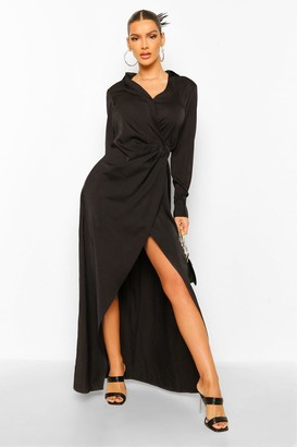 boohoo Draped Wrap Plunge Maxi Dress