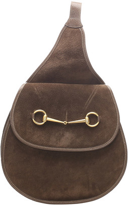 Gucci Brown Vintage Horsebit Suede Backpack