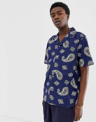 Lacoste Live L!VE short sleeve revere collar printed shirt in navy
