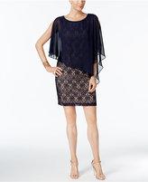 Connected Lace Cold-Shoulder Cape Dress