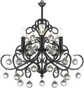 Amonson Lighting Wrought Iron & Crystal 5-Arm Chandelier