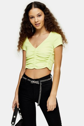 Topshop Fluorescent Yellow Ruched V Neck Top