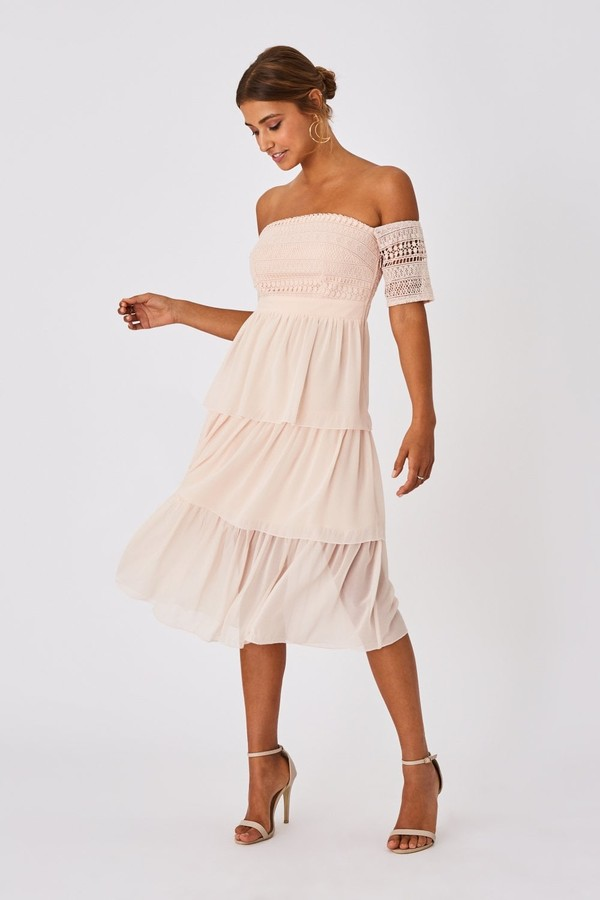 Thumbnail for your product : Little Mistress Mariska Nude Crochet Lace Tiered Midi Dress