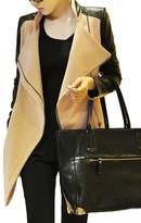 Lettre d'amour Women's Elegant PU Patchwork Zipper Trenchcoats XL