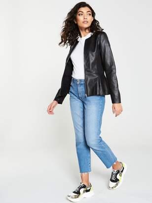 Very Faux Leather Peplum Jacket Black
