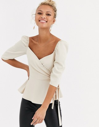 Outrageous Fortune wrap front puff sleeve top in cream
