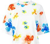 MSGM flower print boxy T-shirt - women - Cotton - S