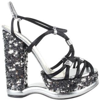 Dolce & Gabbana Black Party Sequence Platform Heels Sandals Size 37