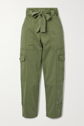 Alex Mill Expedition Cropped Belted Washed Stretch-cotton Slim-leg Pants - Green