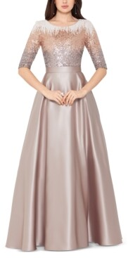 Betsy & Adam Embellished Satin Gown