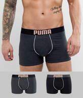 Puma 2 Pack Rebel Placed Print Boxers In Black 581007001087