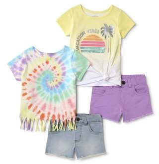 Garanimals Toddler Girl Fringed Top, Sequin Side-Tie T-shirt & Woven Shorts, 4 pc Outfit Set