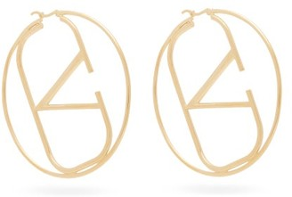 Valentino V-logo Hoop Earrings - Womens - Gold