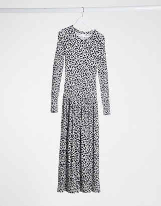 Topshop Tiered Hem Midi Dress In Navy Daisy Print
