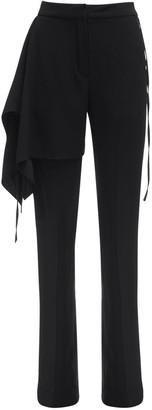 Draped Satin Crepe Tailored Pants