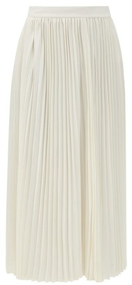 Co High-rise Plisse-crepe Midi Skirt - Ivory