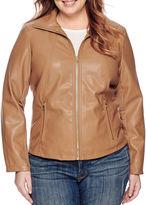 Liz Claiborne Faux-Leather Wing-Collar Jacket - Plus